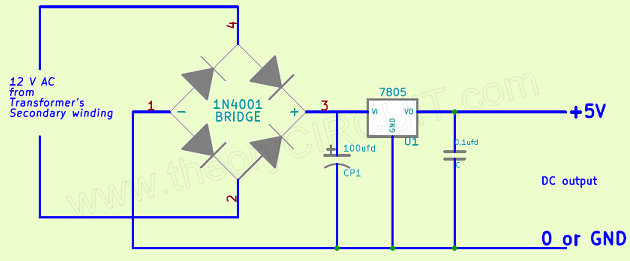 AC to DC 5V Regulated Power supplytheoryCIRCUIT