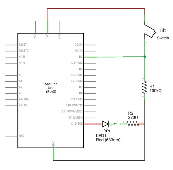 Tilt Switch arduino schematics - theoryCIRCUIT - Do It Yourself Electronics  ProjectstheoryCIRCUIT