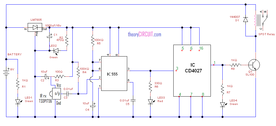Ir Remote Control Circuit For Home Appliances