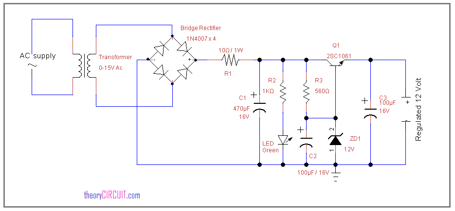 12 Volt Regulated power supply circuit using zener diodetheoryCIRCUIT
