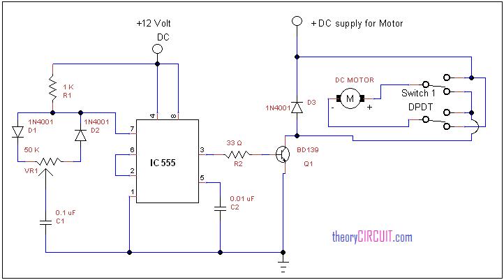 [DVZP_7254]   Forward Reverse DC motor control diagram with timer IC | Dc Motor Forward Reverse Wiring Diagram |  | theoryCIRCUIT