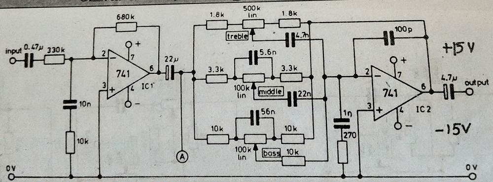 tone control circuit using ic741 - theorycircuit