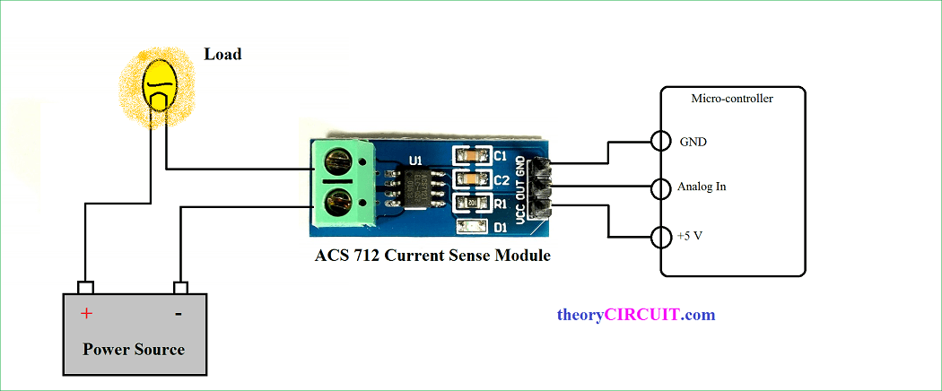 Hall Effect current sensor circuit with ArduinotheoryCIRCUIT
