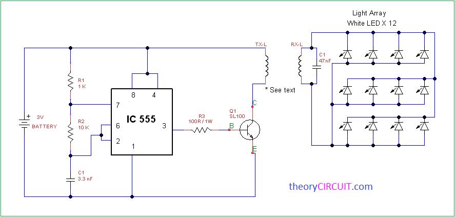 Wireless Power Light Array Using Ic555