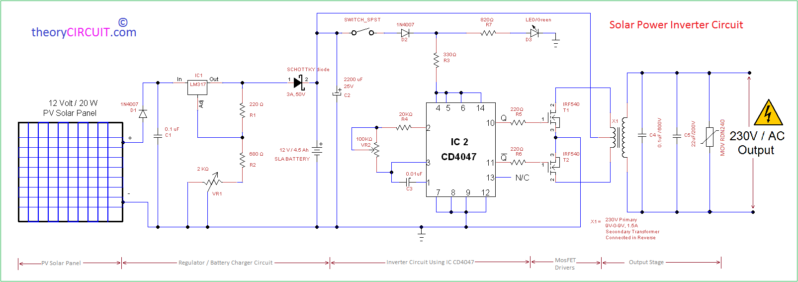 Solar Power Inverter Wiring Diagram from theorycircuit.com