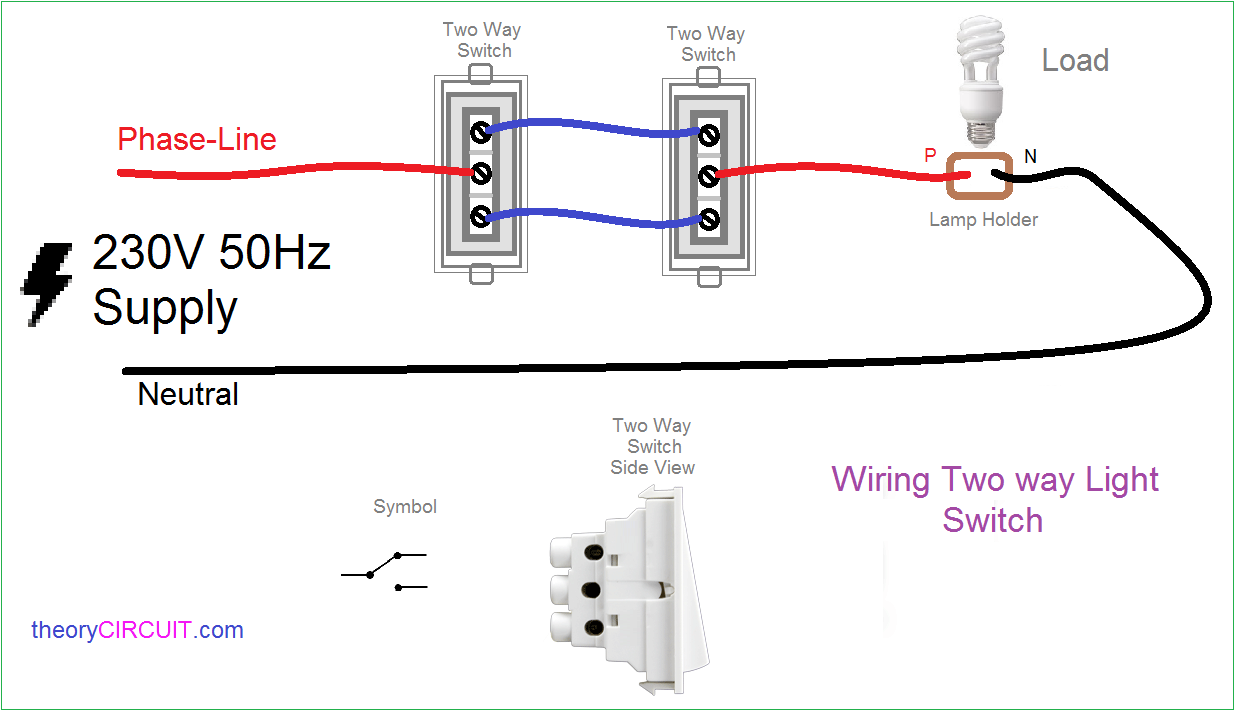 Two way Light Switch Connection | Wiring Two Switches One Light Diagram |  | theoryCIRCUIT