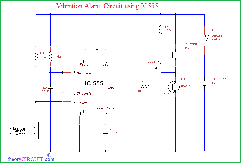 Vibration Alarm Circuit using IC555theoryCIRCUIT