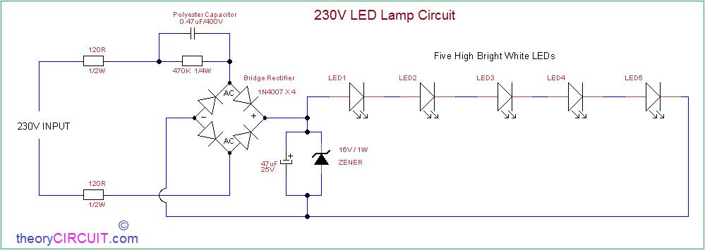 [SODI_2457]   AC Powered 230V LED Circuit | L E D Circuit Diagram |  | theoryCIRCUIT