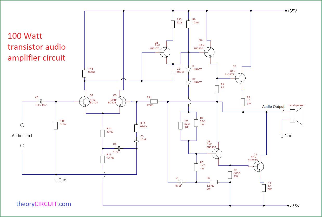 100 Watt Transistor Audio Amplifier Circuit