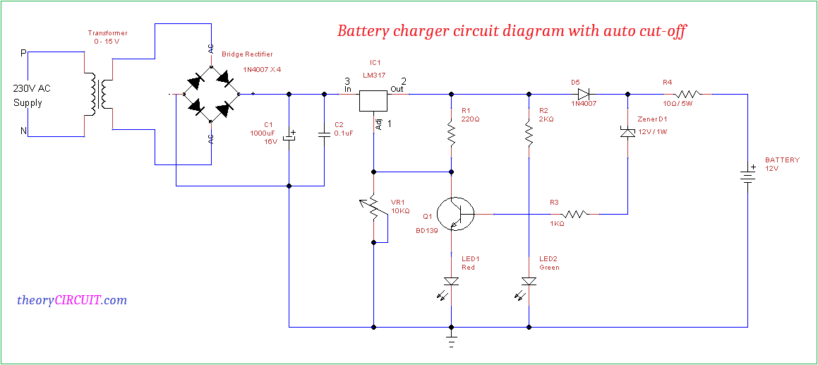 Battery charger circuit diagram with auto cut-off