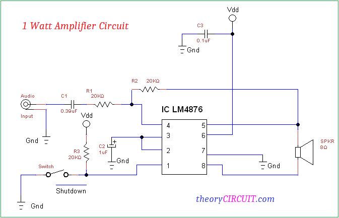 1 Watt Amplifier Circuit