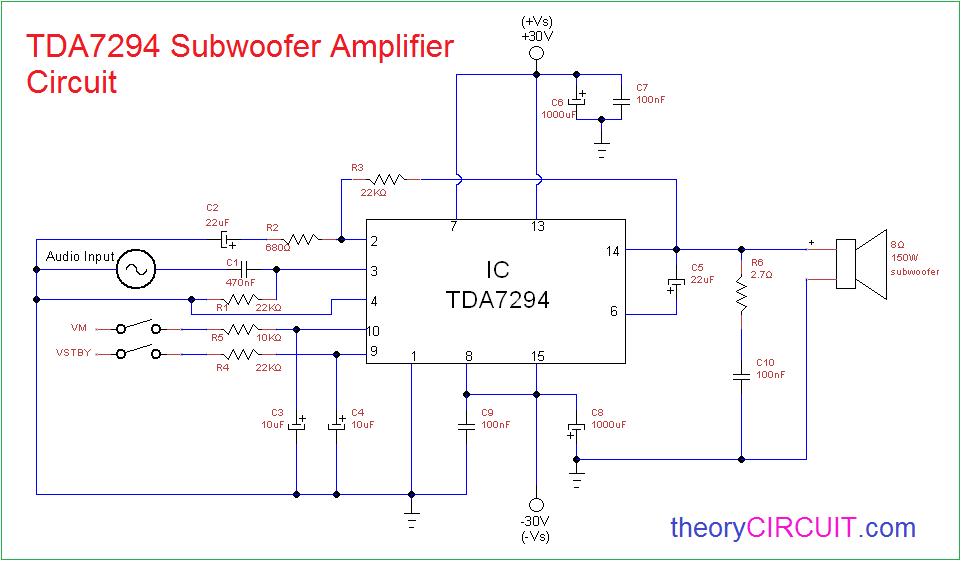 Tda7294 Subwoofer Amplifier Circuit