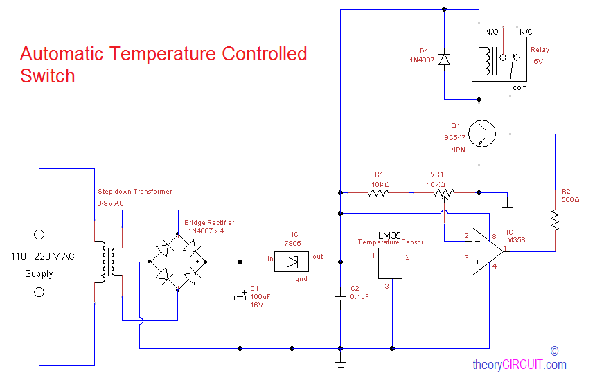 Automatic Temperature Controlled Switch | Adjustable Temp Control Relay Wiring Diagrams |  | theoryCIRCUIT