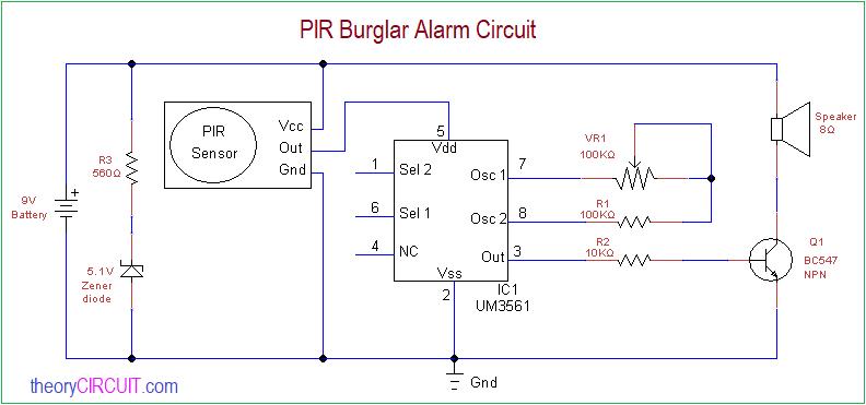 Pir Burglar Alarm Circuit