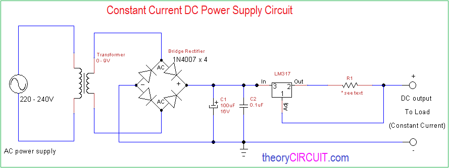 constant current dc power supply circuit  theorycircuit