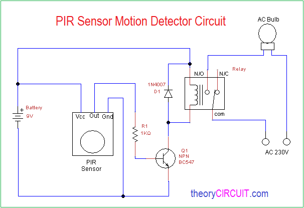 Motion Sensor Wiring Diagram from theorycircuit.com