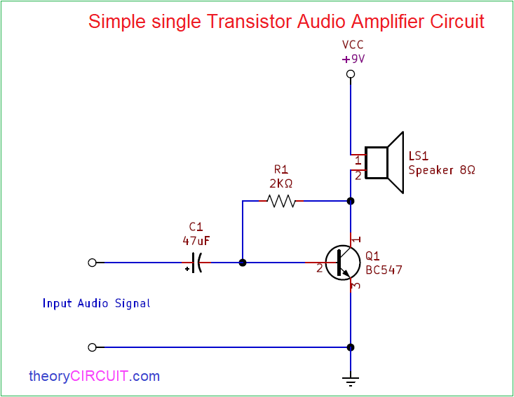 Simple Single Transistor Audio Amplifier Circuit