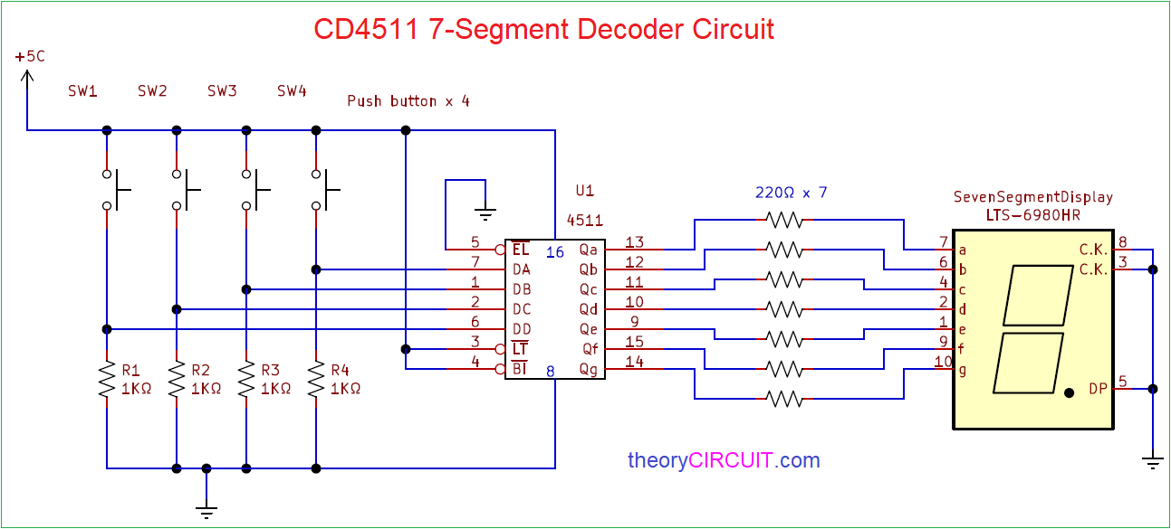 [SCHEMATICS_44OR]  CD4511 7-Segment Decoder Circuit | 7 Segment Decoder Logic Diagram |  | theoryCIRCUIT