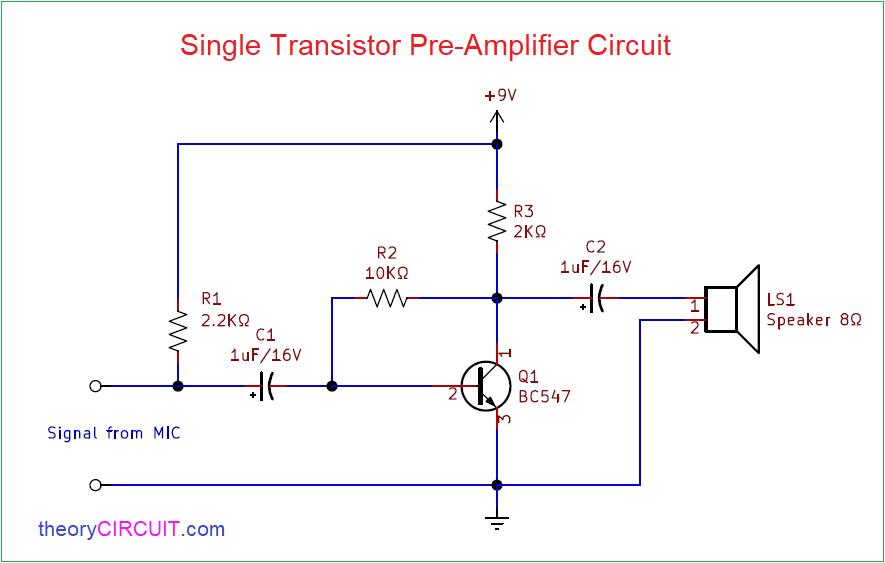 Simple Single Transistor Audio Amplifier CircuittheoryCIRCUIT