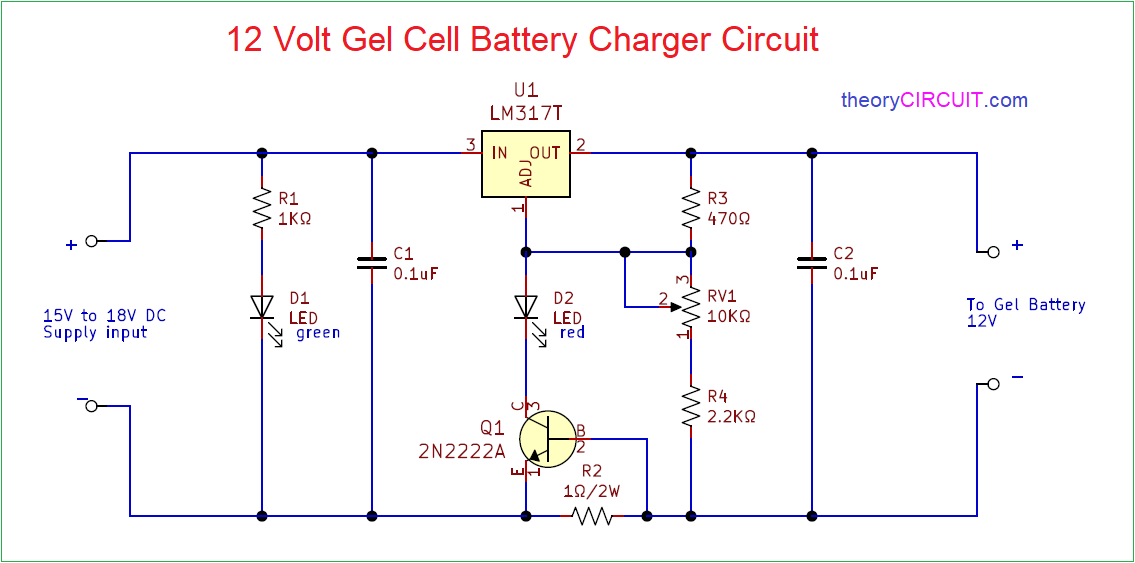 12 Volt Gel cell Battery Charger Circuit | Battery Charger Rectifier Wiring Diagram |  | theoryCIRCUIT
