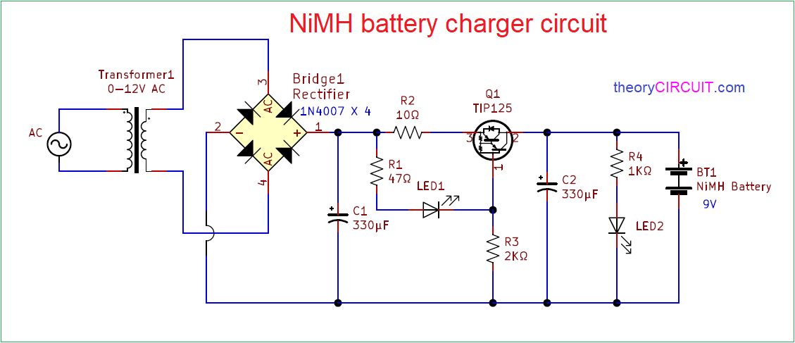 NiMH Battery Charger Circuit | Battery Charger Rectifier Wiring Diagram |  | theoryCIRCUIT
