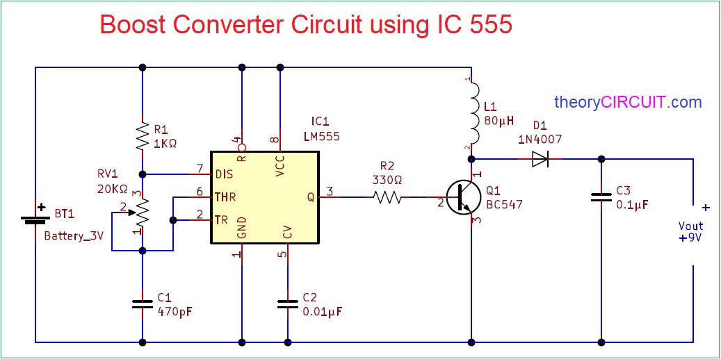 Boost Converter Circuit 555