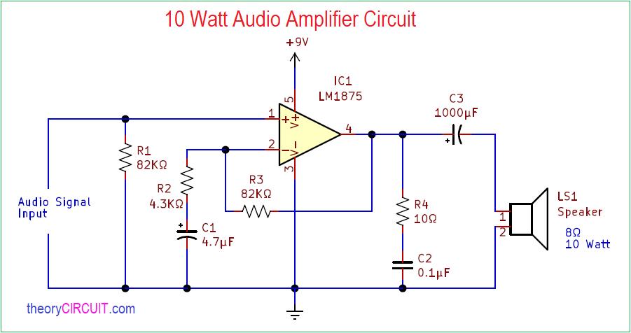10 Watt Audio Amplifier CircuittheoryCIRCUIT